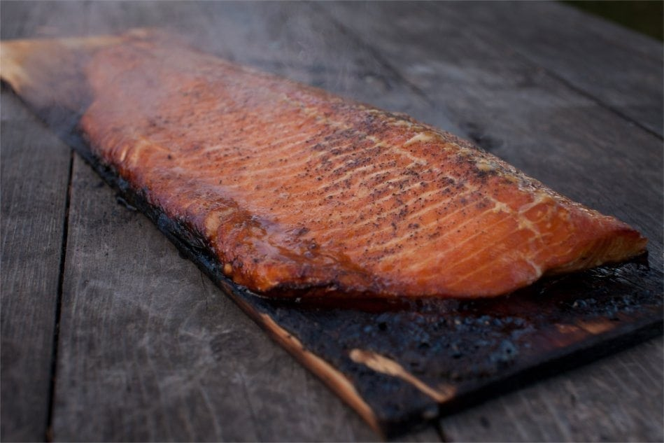 Cedar planked salmon fillet with brown sugar