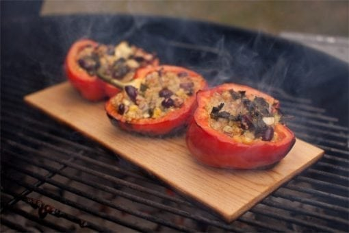 Hickory Planked Stuffed Bell Peppers