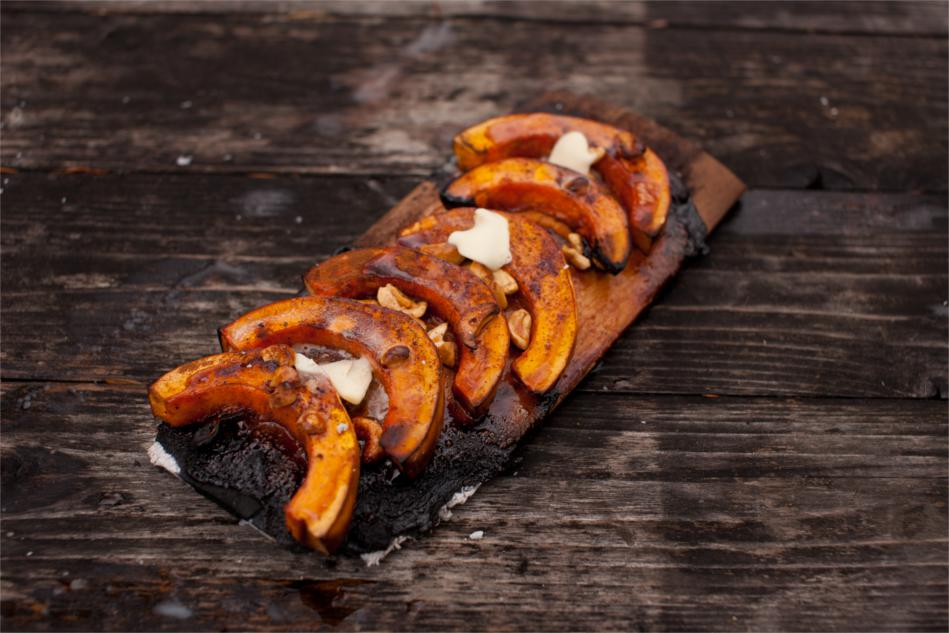 Alder Planked Winter Squash with Honey and Cashews Recipe