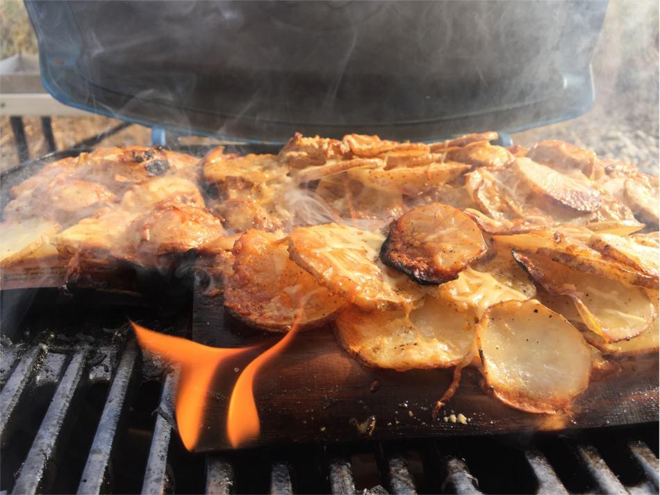 Cedar Planked Cheesy Potatoes Recipe