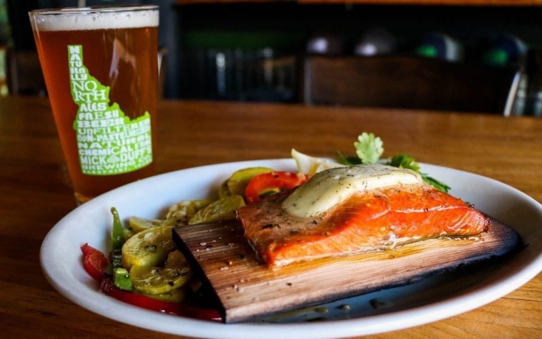 Wildwood Cedar Planked Salmon at MickDuff's Brewing Company
