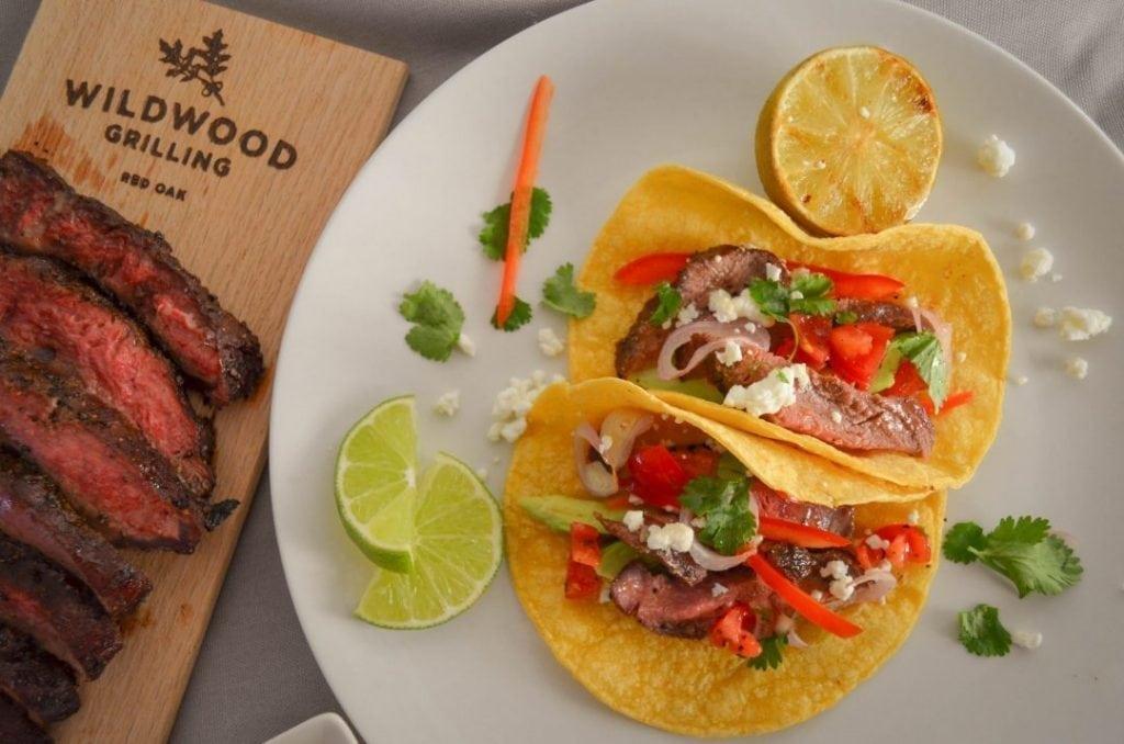 Coffee Rubbed Steak Tacos on Red Oak Grilling Plank