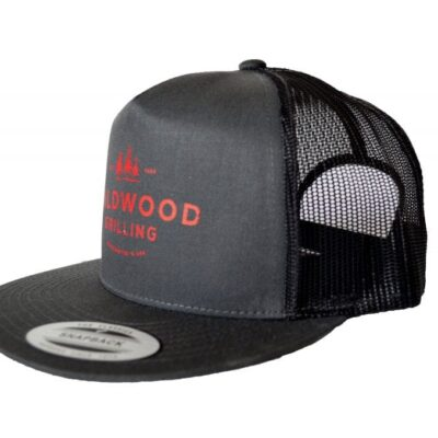 Gray Flat-Bill Trucker Hat with Red Wildwood Grilling Logo