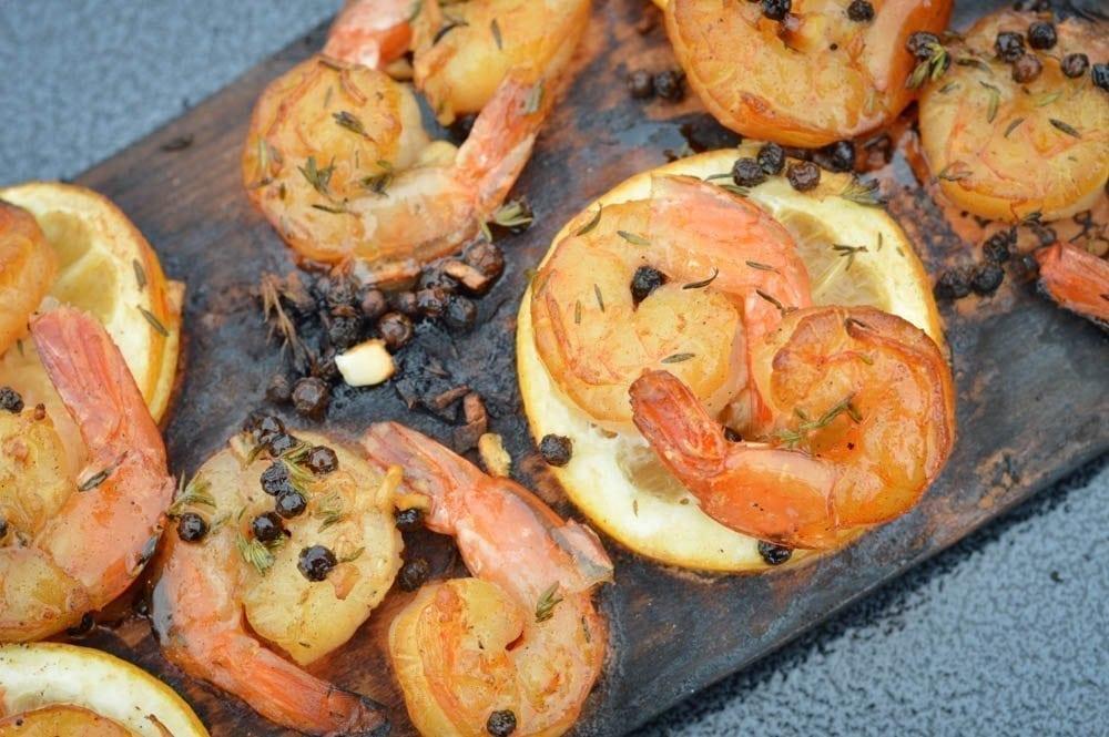 Alder Planked Lemon-Pepper Shrimp