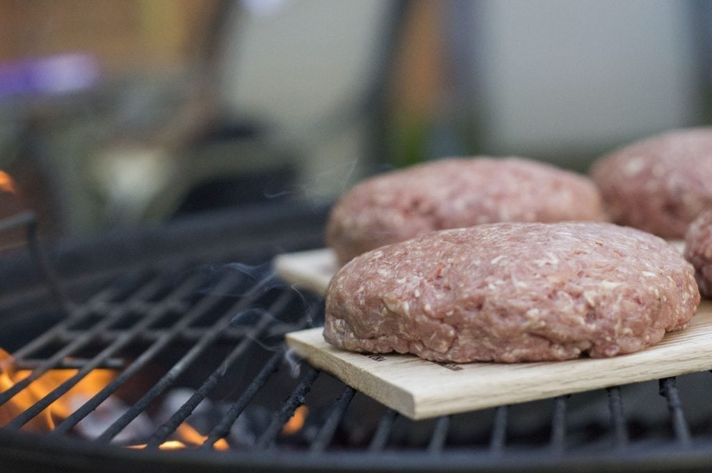 Red Oak Planked Burgers on the Charcoal Grill