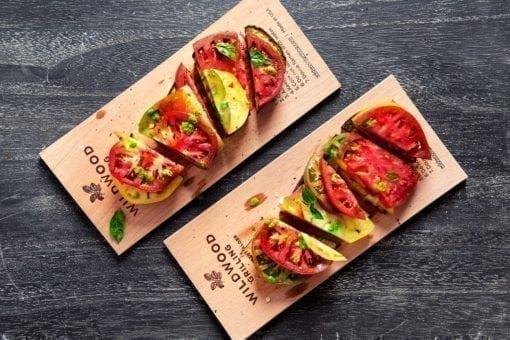 Alder Planked Eggplant and Heirloom Tomatoes