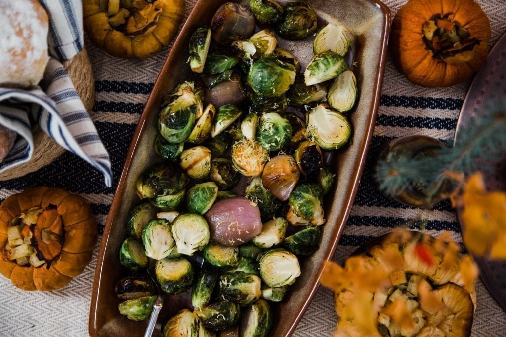 Alder Planked Brussel Sprouts with Shallots and Lemon