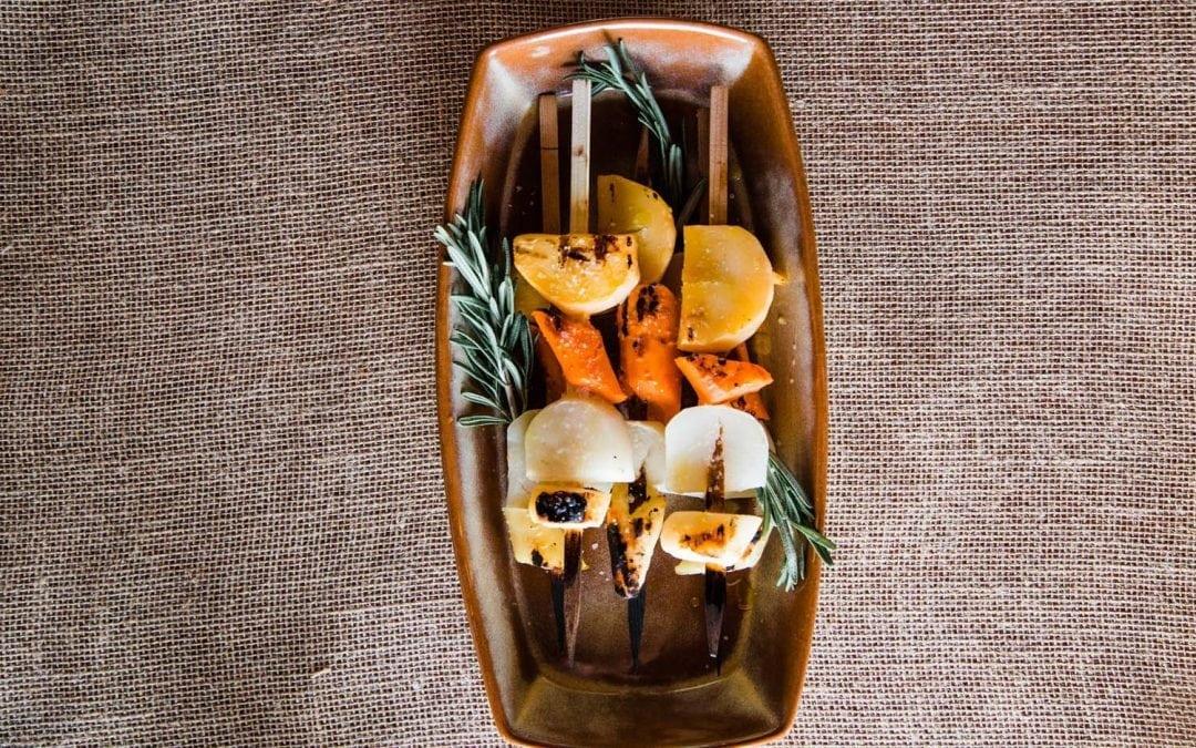 Honey Glazed, Cedar Skewered Root Vegetables