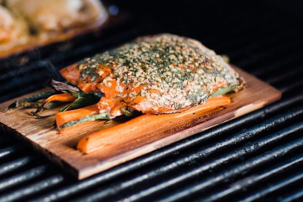 Cedar Planked Salmon Dill Vegetables