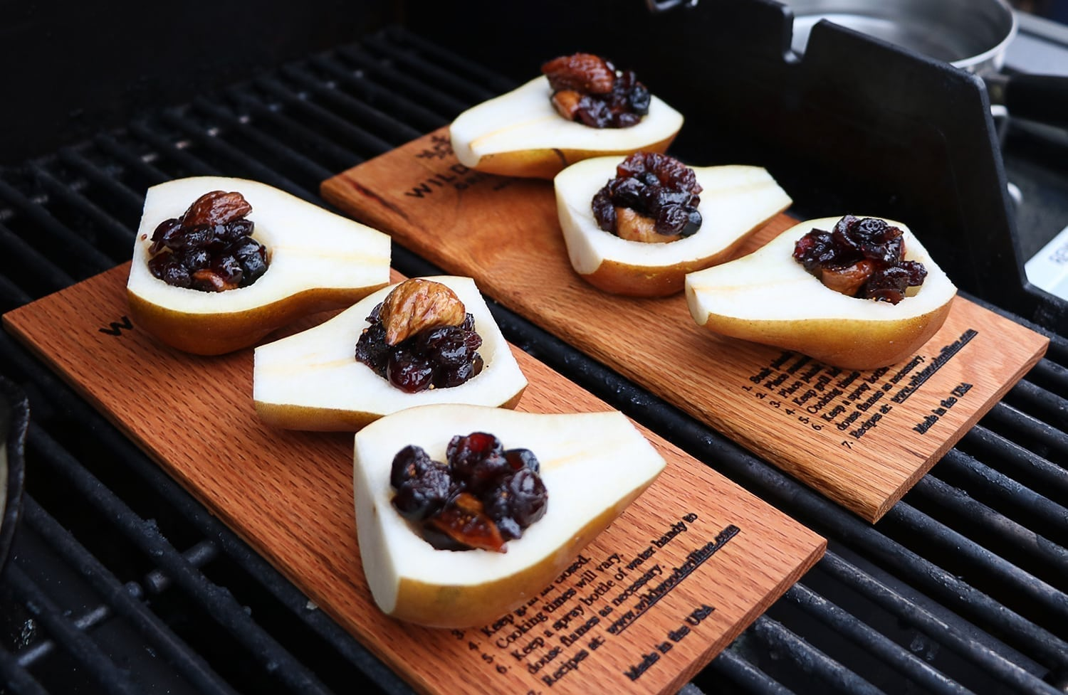Red Oak Planked Pears with Bourbon & Dried Fruit Compote