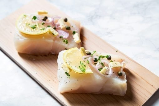 Cedar Planked Cod Piccata with Linguine