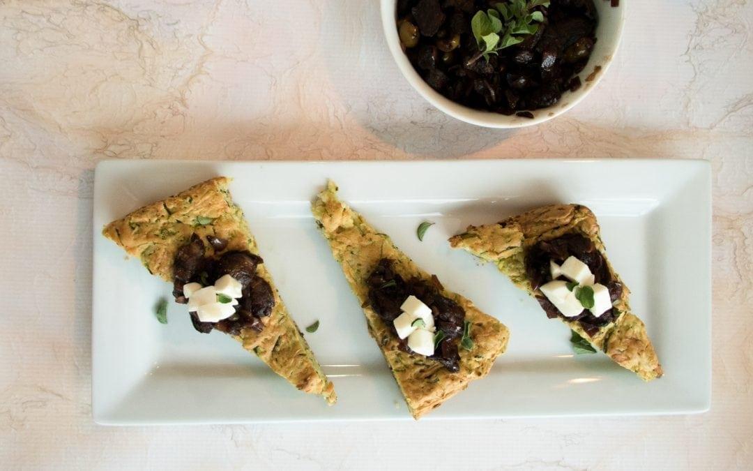 Cedar Planked Caponata with Zucchini Bread and Fresh Mozzarella