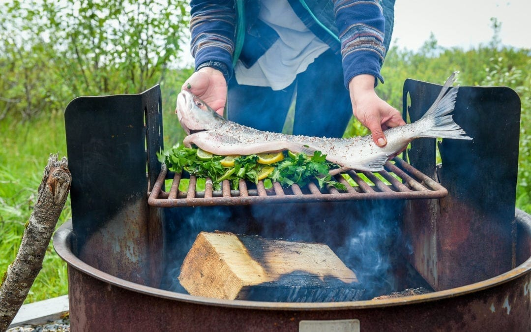 Cooking Salmon on an Open Fire