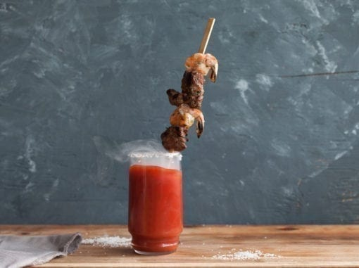 Smoked Bloody Mary with Cedar Skewered Garnish