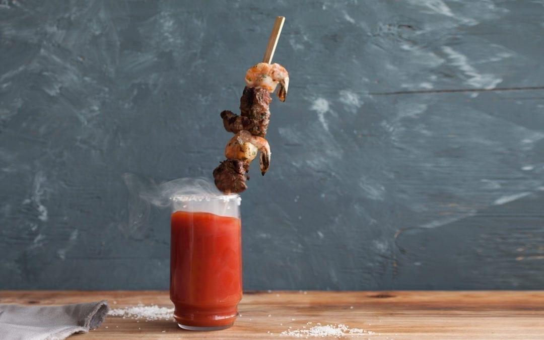 Smoked Bloody Mary with Cedar Skewered Garnish