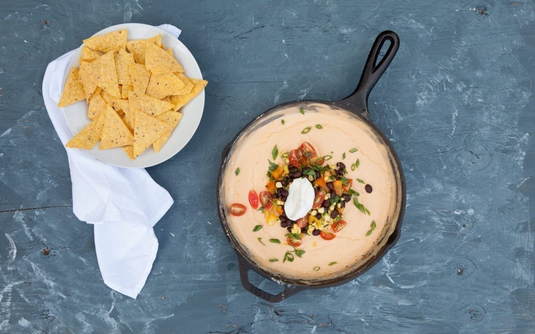 Smoked Beer Cheese Dip with Black Bean Salsa