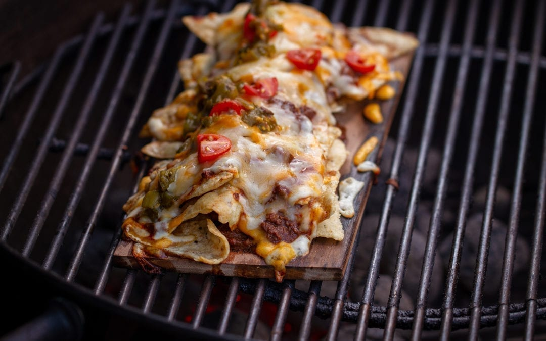 Hickory Planked Chili Nachos