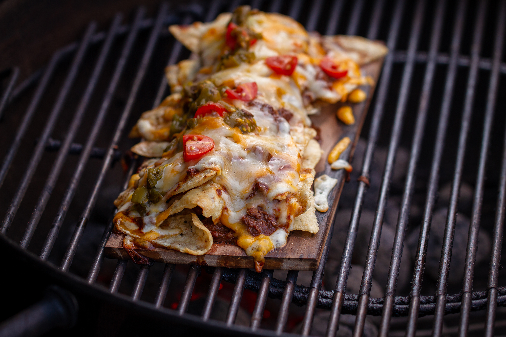 Hickory Planked Chili Nachos