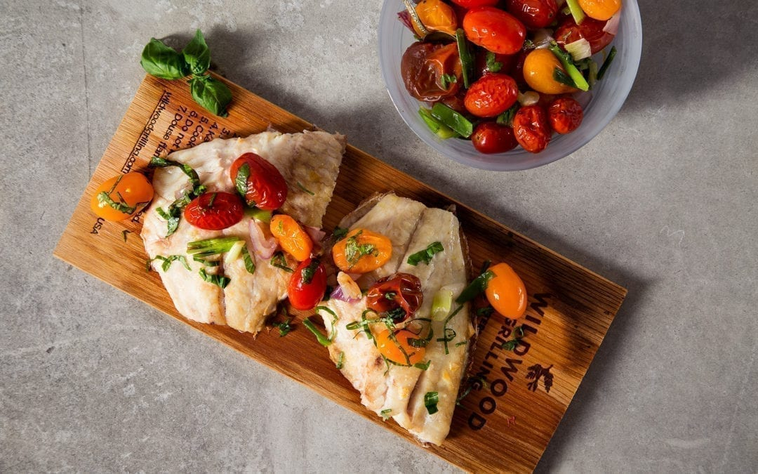 Cedar Planked Red Snapper with Cherry Tomatoes