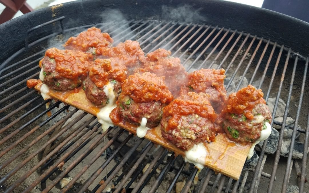 Hickory Planked Italian Stuffed Meatballs