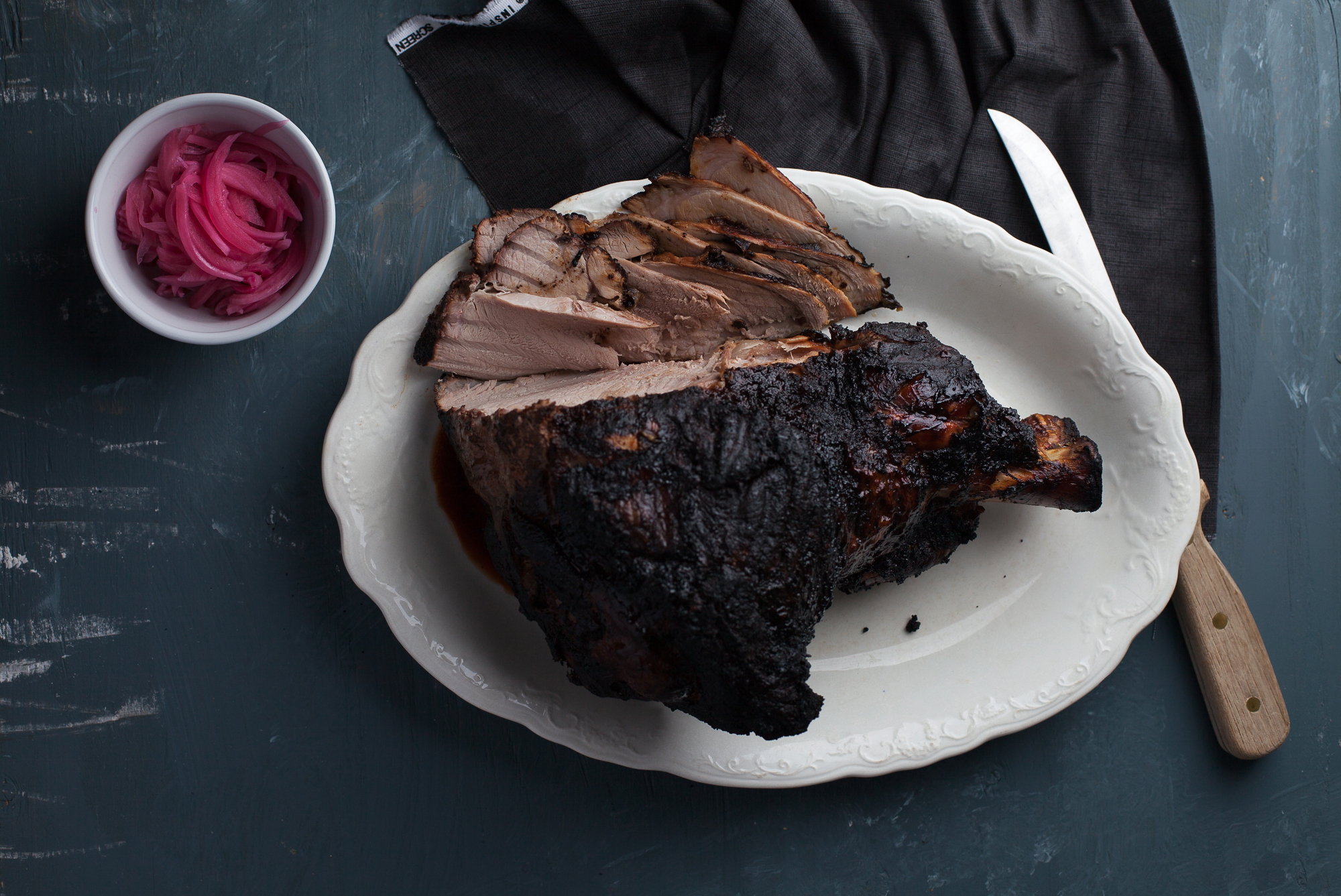 Cuban Style Smoked Pork Leg with Pickled Onions