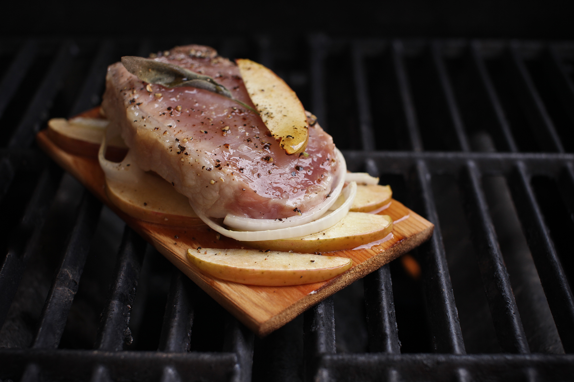 Cedar Planked Pork Chops with Apples, Onions and Sage