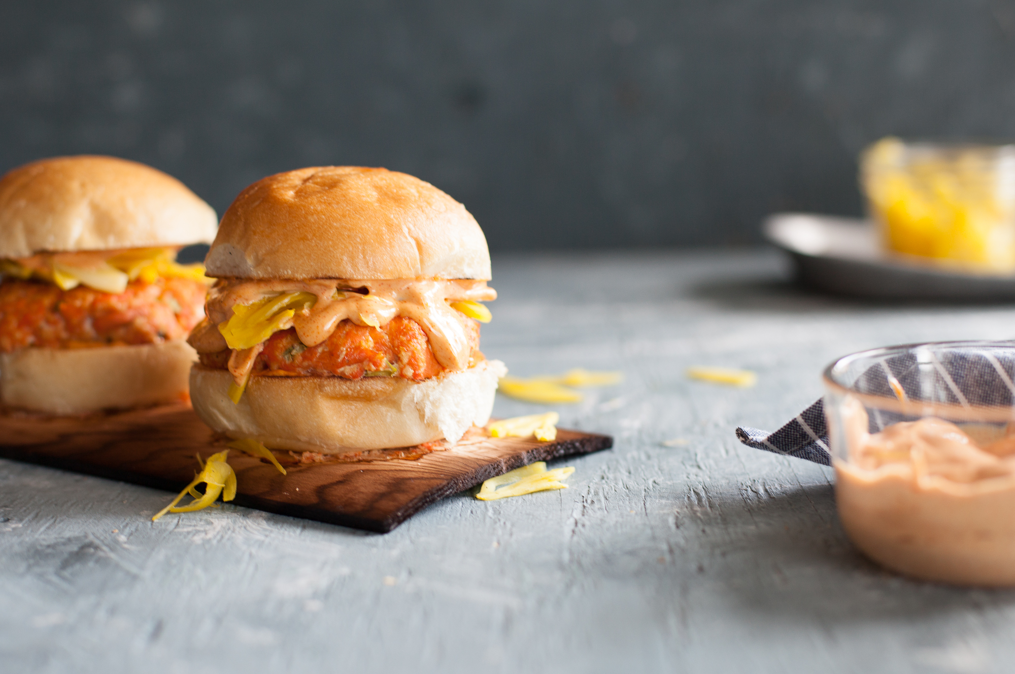 Grilling Dinner Idea: Cedar Planked Salmon Burger with Saffron Pickled Fennel