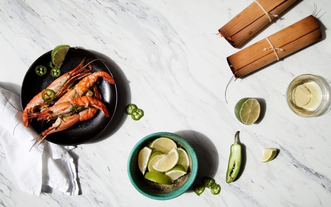 Cedar wrapped Jumbo Shrimp with Tequila, Jalapeño, and Lime