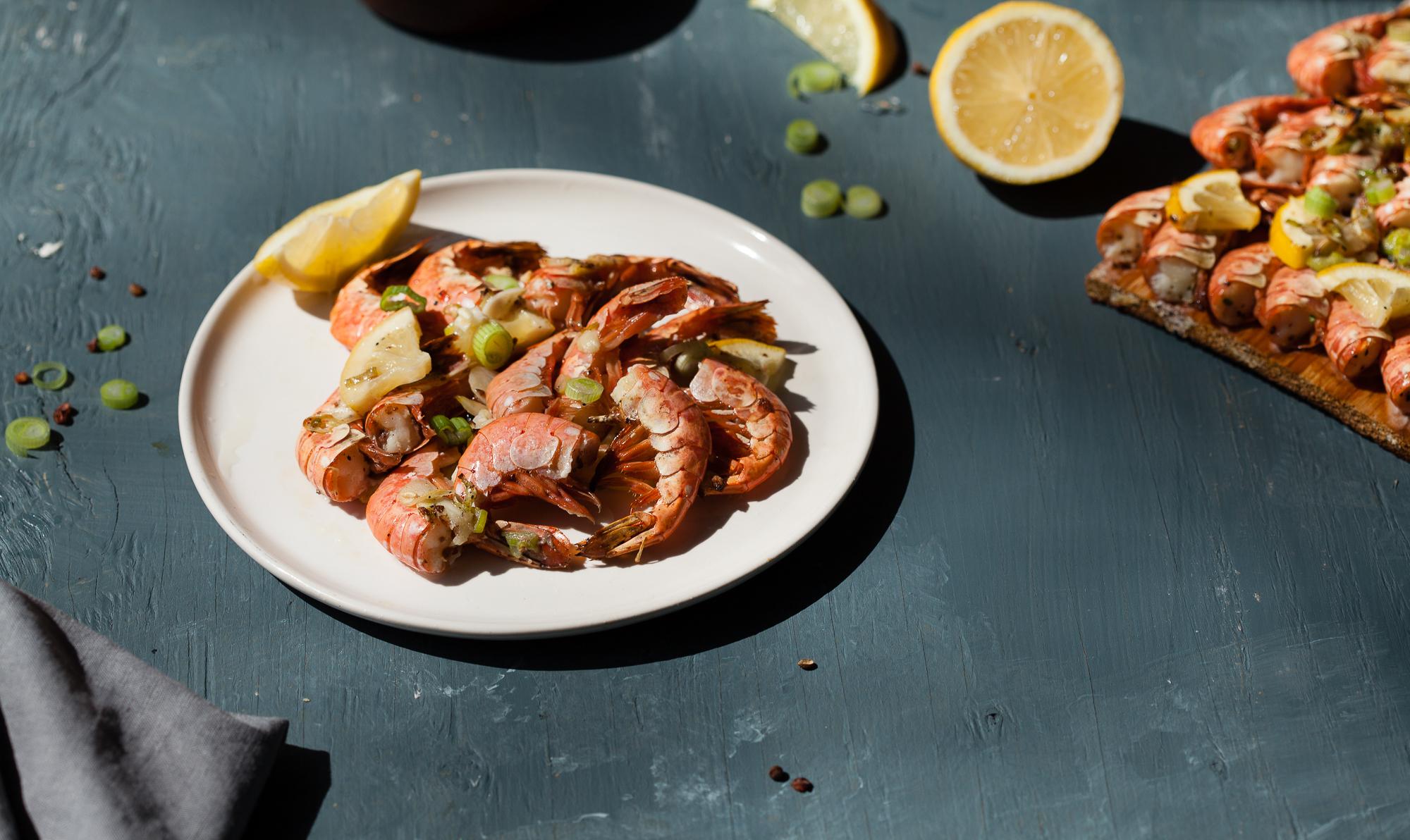 Cedar Planked Red Shrimp with Szechuan Pepper, Garlic, and Green Onion Aioli