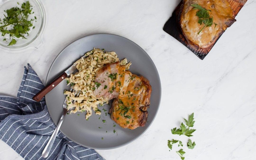 Red Oak Planked Pork Chop