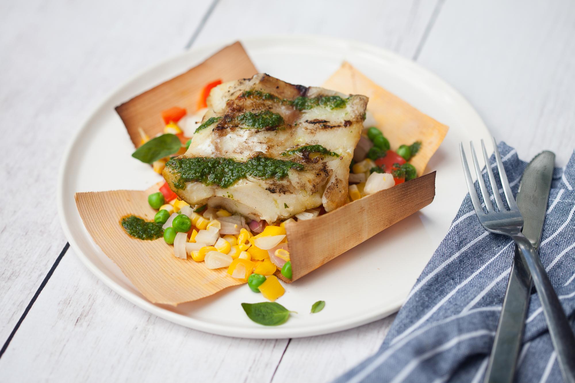 Grilled Dinner Idea: Cedar Wrapped Succotash and Cod