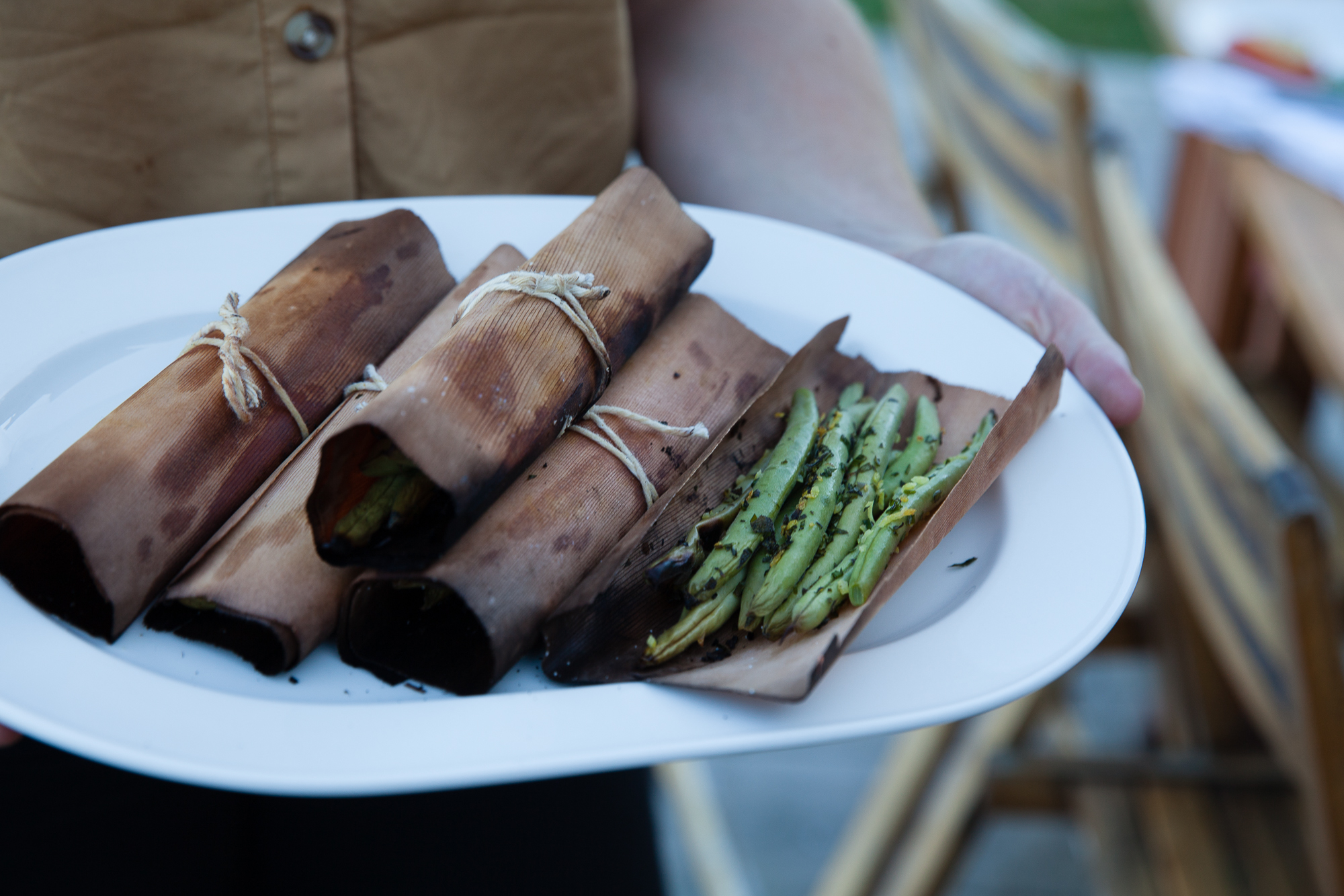 Cedar Wrapped Green Beans with Herbs and Lemon
