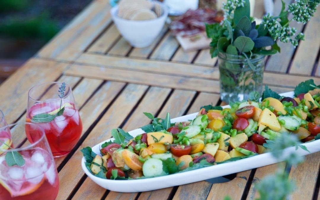 Cedar Planked Peach Summer Salad