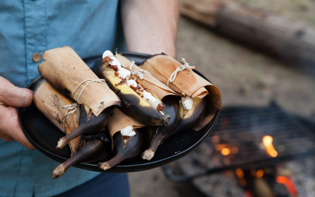 Cedar Wrapped Campfire Banana Boats