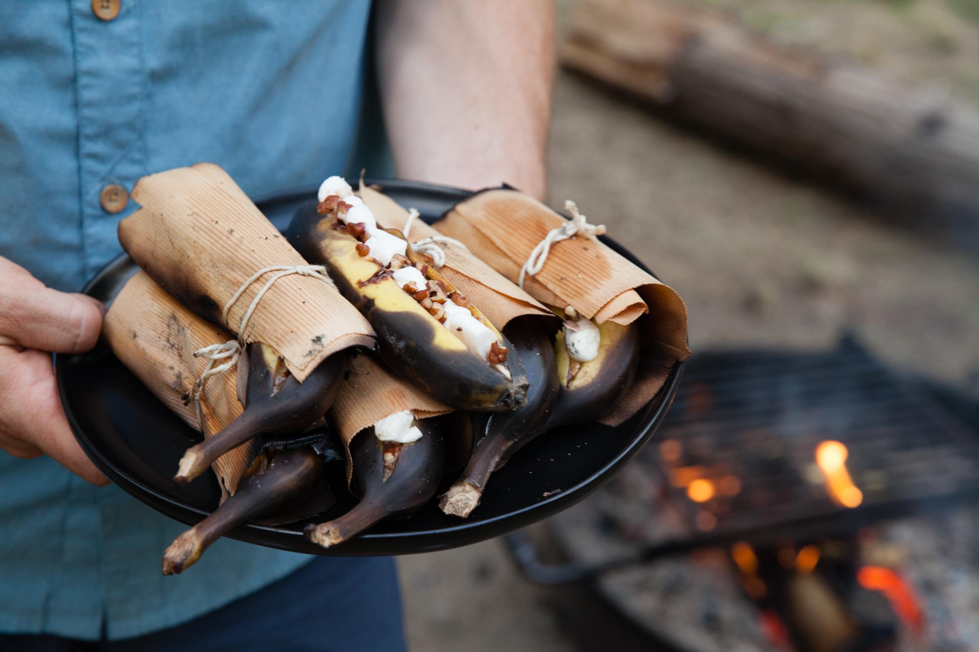 Cedar Wrapped Campfire Banana Boats