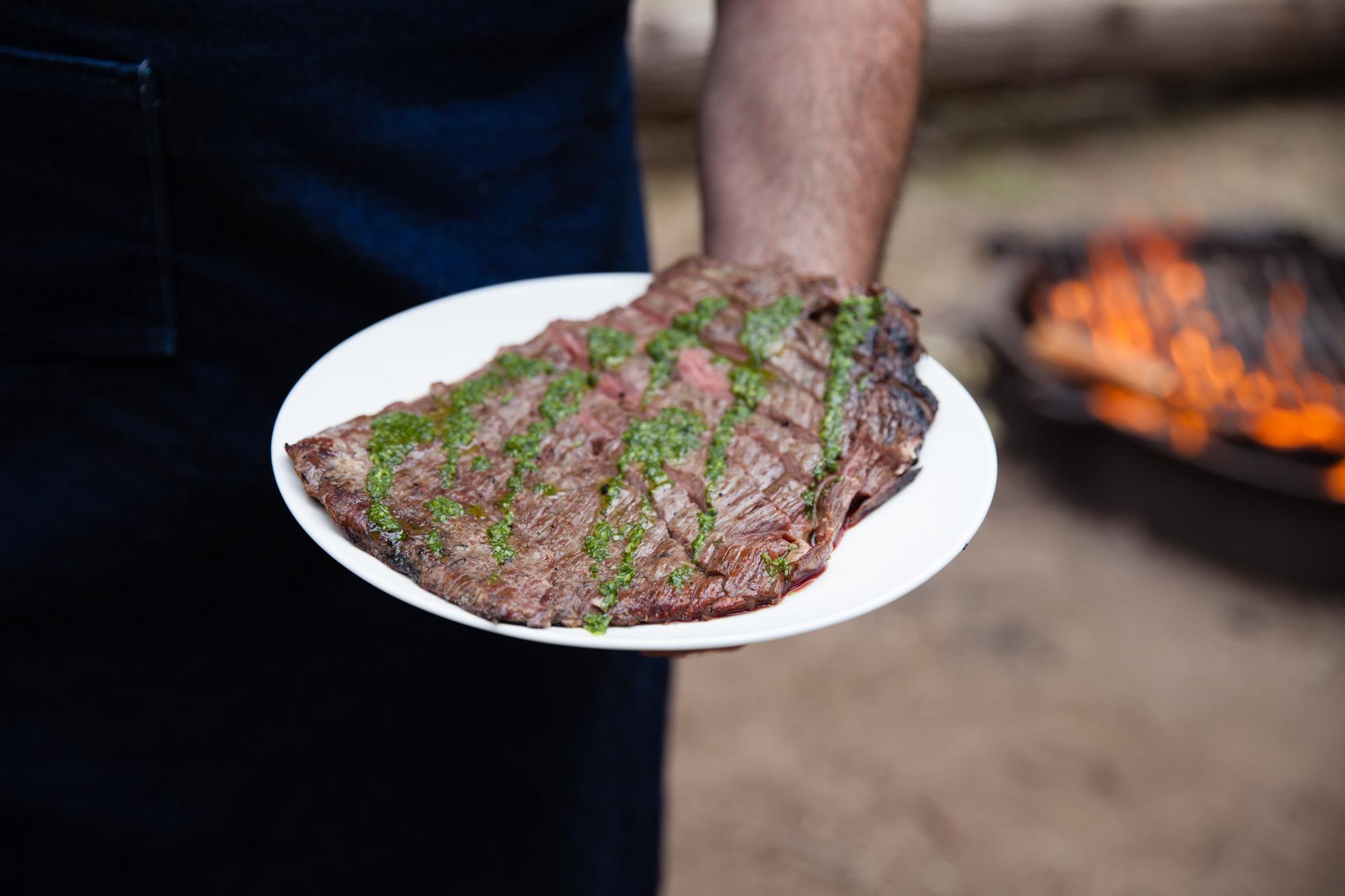 Fire Roasted Flank Steak with Chimichurri