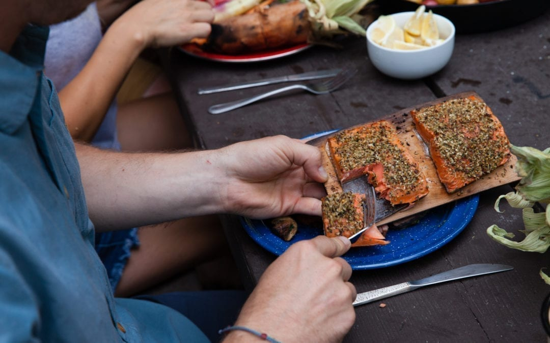 Open Fire Cedar Planked Salmon