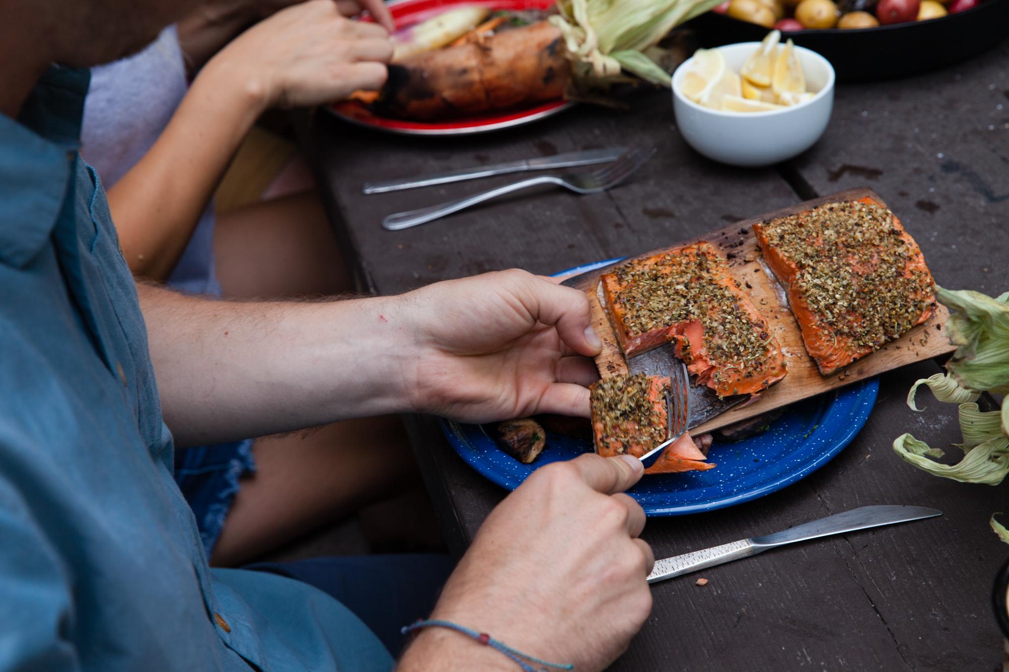 Open Fire Cedar Planked Salmon