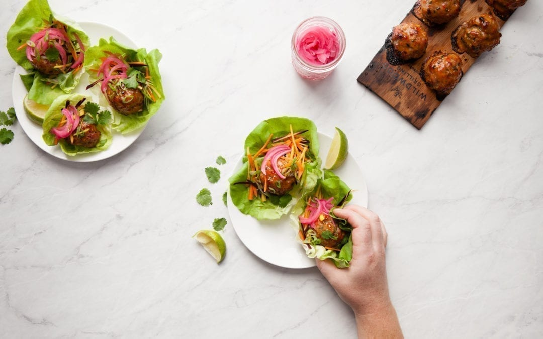 Maple Planked Thai Meatball Lettuce Cups
