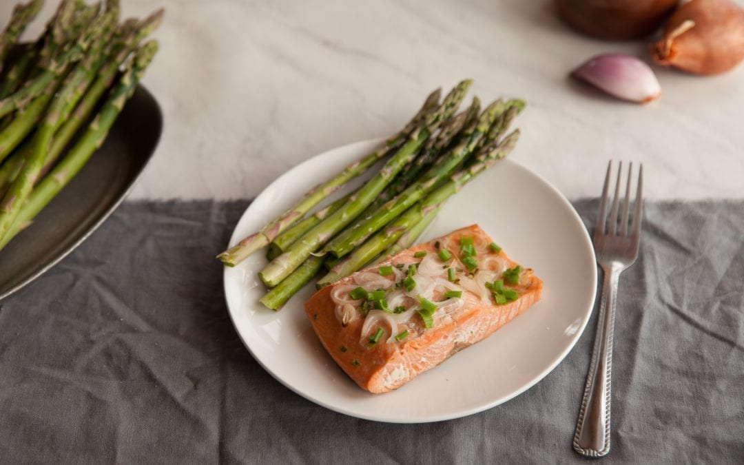 Cedar Wrapped Salmon with Shallots & Asparagus