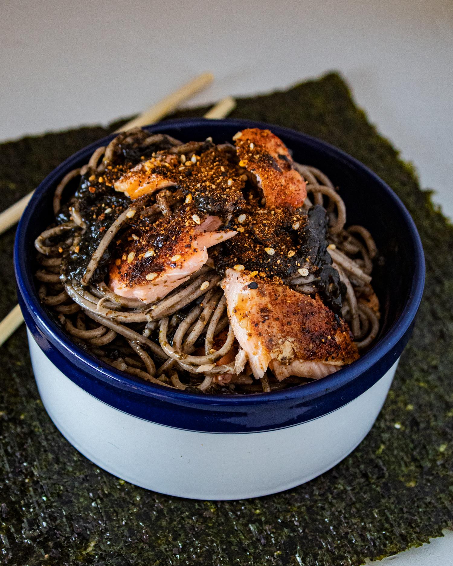 Cedar Planked Togarashi Salmon with Nori Pesto