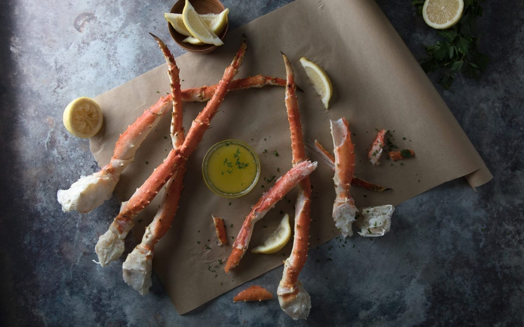 Smoked King Crab Legs with Smoky Garlic Butter
