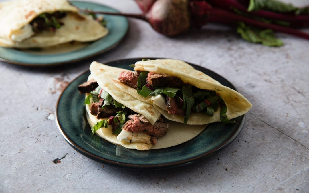 American Jerk Rubbed Flank Steak Piadine