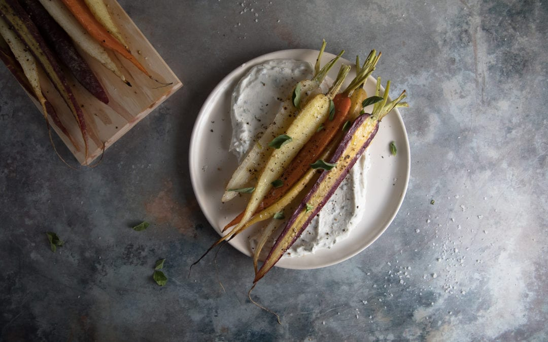 Maple Roasted Carrots with Herby Yogurt Sauce