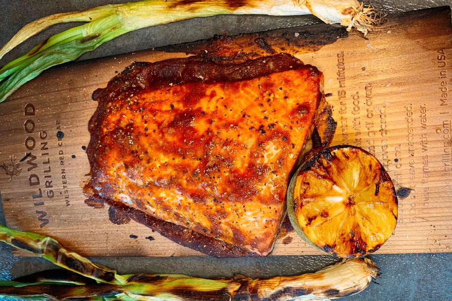Cherry Fire Glazed Cedar Planked Salmon