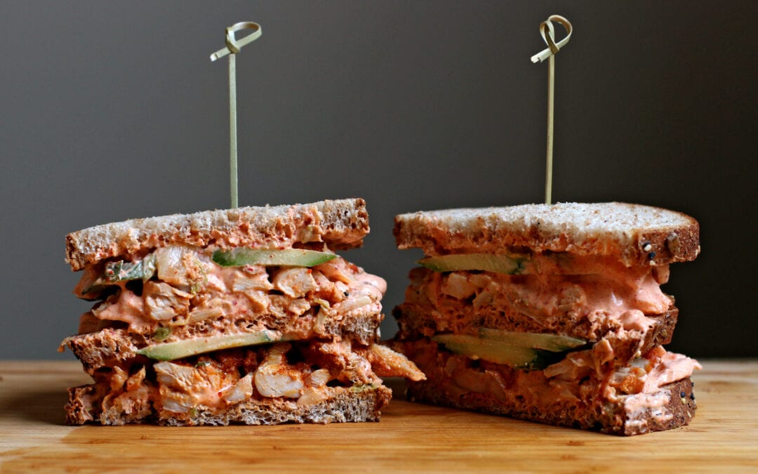 Cedar Wrapped Chicken Club Sandwich with Kimchi Mayo