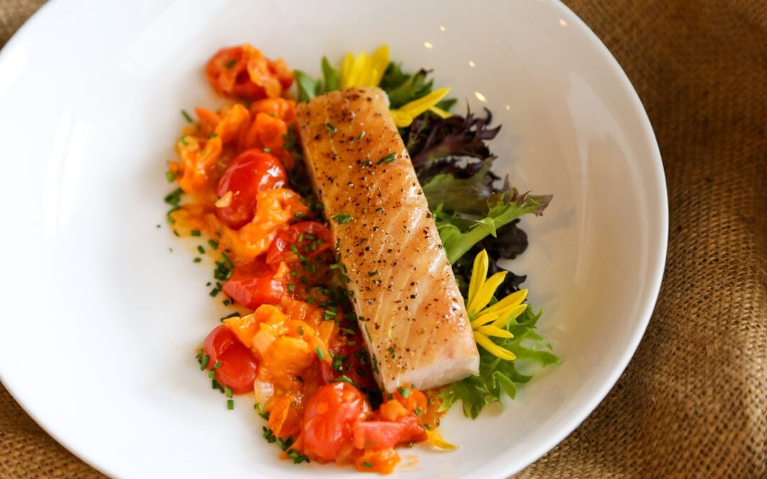 Smoked Halibut with a Cherry Tomato Vinaigrette Salad