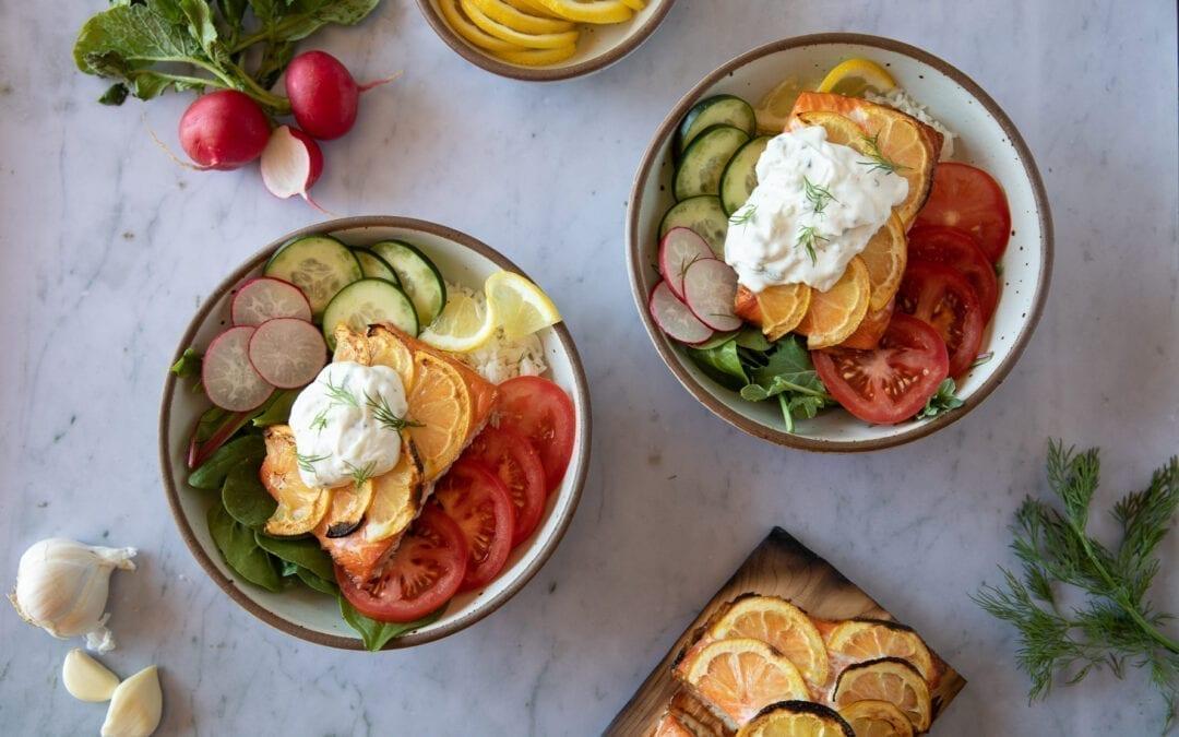 Dinner Grilling Idea: Salmon Tzatsiki Bowl