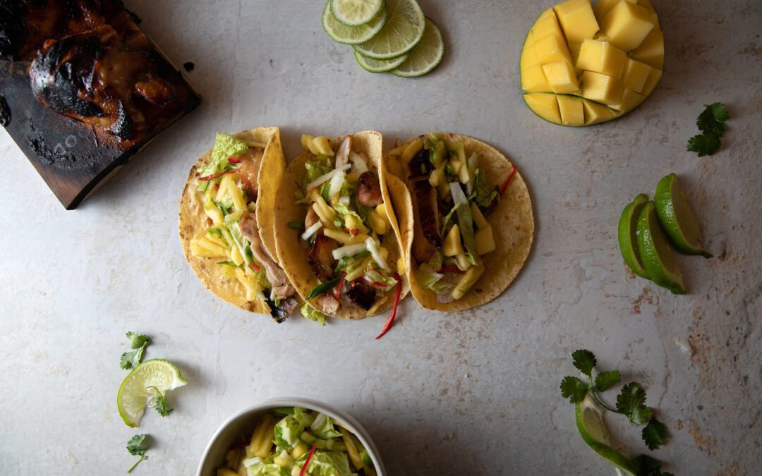 Maple Planked Chicken Adobo Tacos